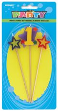 Number One 1 Number Stars Birthday Cake Candles